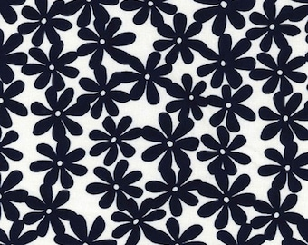 "Navy Blue Daisy on Ivory - Ponte Roma Print Stretch Soft Knit Jersey Fabric - 150cm Wide (59"")"