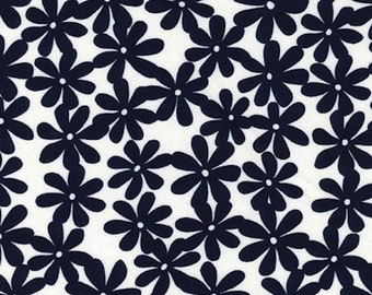 "Navy Blue Daisy on Ivory - Ponte Roma Print Stretch Soft Knit Jersey Fabric - 150cm Wide (59"")"