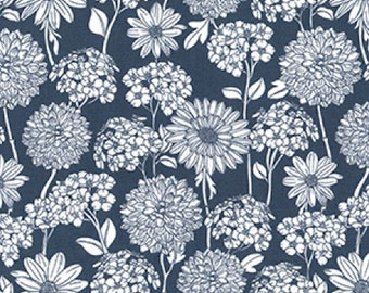 "White on Grey Floral Flowers - 100% Cotton Poplin Dress Fabric - Material - Metre/Half - 44"" (112cm) wide"