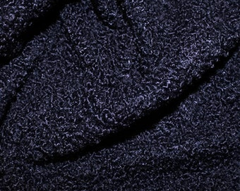 "Navy Blue - Curly Knit Boucle Type Stretch Fabric - Polyester Material - 150cm (59"") wide"