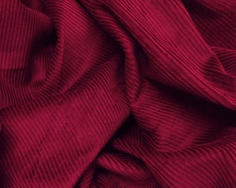 "Wine Red - Cotton Corduroy 8 Wale Fabric Material - 144cm (56"") wide"