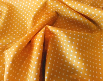 "Yellow - 100% Cotton Poplin Dress Fabric Material - 3mm Polka Dot / Spot - Metre/Half - 44"" (112cm) wide"