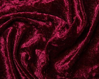 "Wine Red Crushed Velvet Velour Stretch Fabric Material - Polyester - 150cm (59"") wide"