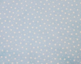 "White Stars & Spots on Baby Blue - 100% Cotton Poplin Dress Fabric Material - 3mm Stars - Metre/Half - 44"" (112cm) wide"