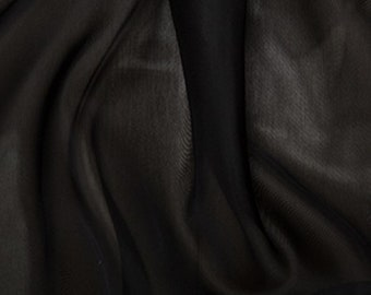"Black Voile Fabric Polyester Material 150cm (59"") Wide Craft/Curtain"
