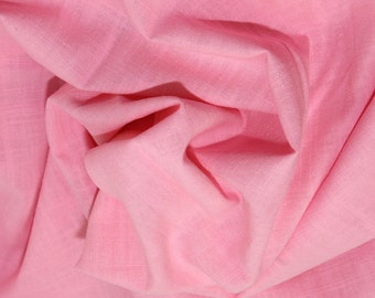 "Pink - Linen Look 100% Cotton Dress Fabric Material - Metre/Half - 58"" (145cm) wide"