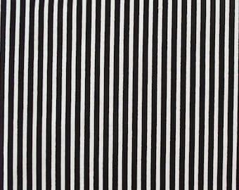"Black/White - 100% Cotton Poplin Dress Fabric Material - 3mm Stripe - Metre/Half - 44"" (112cm) wide"