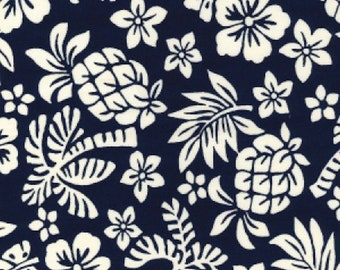 "White on Navy Blue Floral Tropical - 100% Cotton Poplin Dress Fabric - Material - Metre/Half - 44"" (112cm) wide"