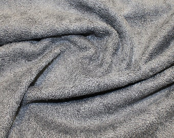 "Grey Bamboo Terry Towelling Fabric - Plain Solid Colours - Towel Material - 150cm (59"") wide"