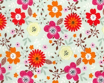 "Red/Pink/Orange Flowers on Green - Floral 100% Cotton Poplin Dress Fabric - Material - Metre/Half - 44"" (112cm) wide"