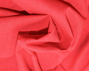 "Red - Linen Look 100% Cotton Dress Fabric Material - Metre/Half - 58"" (145cm) wide"