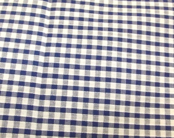 Navy Blue - Corded Gingham - Eighth 1/8 Inch Check - Dress Fabric Material - Metre/Half - 44 inches (112cm) wide