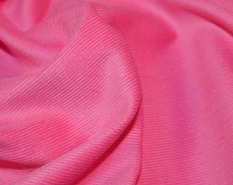 "Pink - Needlecord Cotton Corduroy 21 Wale Fabric Material - 140cm (55"") wide"