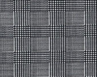 "Check Dogtooth Black/White - Ponte Roma Print Stretch Soft Knit Jersey Fabric - 150cm Wide (59"")"