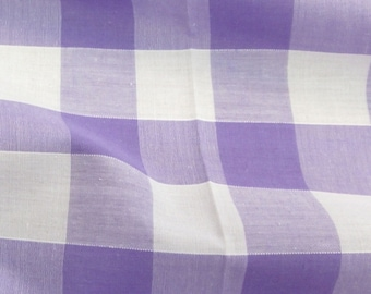 Lilac - Corded Gingham - 1 Inch Check - Dress Fabric Material - Metre/Half - 44 inches (112cm) wide