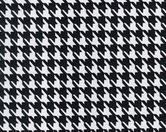 "Dogtooth Black & White - Ponte Roma Print Stretch Soft Knit Jersey Fabric - 150cm Wide (59"")"