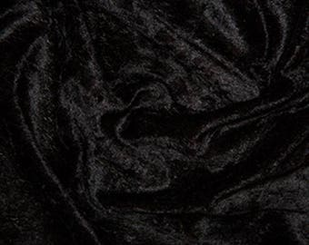 "Black Crushed Velvet Velour Stretch Fabric Material - Polyester - 150cm (59"") wide"