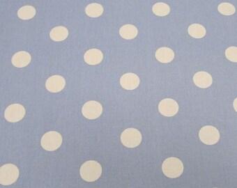 "Pale Blue - 100% Cotton Poplin Dress Fabric Material - 22mm Polka Dot / Spot - Metre/Half - 44"" (112cm) wide"