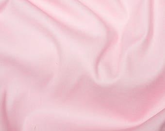 "Pink - Plain Cotton Stretch Sateen Fabric Dress Material - 146cm (57"") wide"