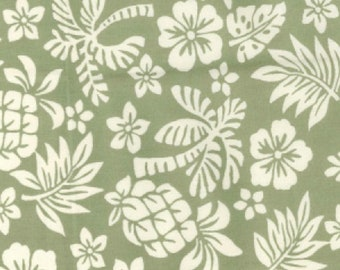 """White on Green Floral Tropical - 100% Cotton Poplin Dress Fabric - Material - Metre/Half - 44"""" (112cm) wide"""