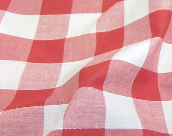 Red - Corded Gingham - 1 Inch Check - Dress Fabric Material - Metre/Half - 44 inches (112cm) wide