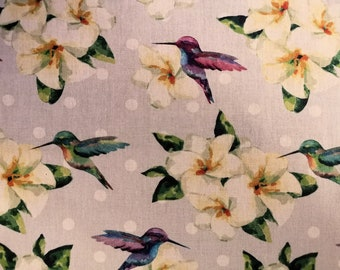 "Hummingbirds & Flowers, Spots- 100% Cotton Poplin Dress Fabric - Metre/Half - 60"" (150cm) wide"