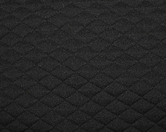 "Black - Stretch Quilting Fabric Material - Polyester - 150cm (59"") wide, 7 Colours, Diamond Pattern"