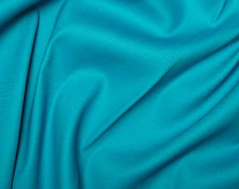 "Turquoise - Plain Cotton Stretch Sateen Fabric Dress Material - 146cm (57"") wide"