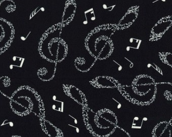 "Large Musical Notes - Ivory on Black - 100% Cotton Poplin Dress Fabric - Material - Metre/Half - 44"" (112cm) wide"