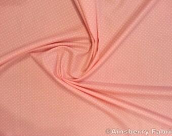 "Pale Pink - 100% Cotton Poplin Dress Fabric Material - 3mm Polka Dot / Spot - Metre/Half - 44"" (112cm) wide"