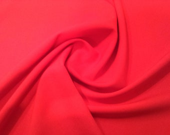 "Red - Polyester Bi-Stretch Panama Suiting Dress Fabric - 147cm (58"") Wide"