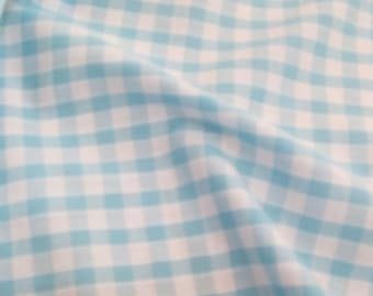 Turquoise - Corded Gingham - Quarter Inch Check - Dress Fabric Material - Metre/Half - 44 inches (112cm) wide