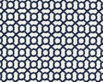 """Navy Blue Rope Knot on Ivory - Ponte Roma Print Stretch Soft Knit Jersey Fabric - 150cm Wide (59"""")"""