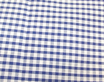 Royal Blue - Corded Gingham - Eighth 1/8 Inch Check - Dress Fabric Material - Metre/Half - 44 inches (112cm) wide