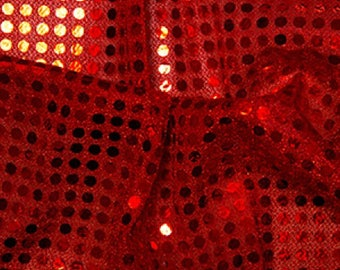 "Red - 6mm Sequin Fabric - Shiny Sparkly Material - 44"" (112cm) wide Knitted Backing"