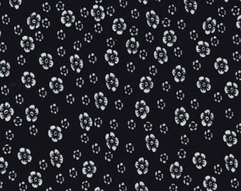 "Ivory Flowers on Black - Ponte Roma Print Stretch Soft Knit Jersey Fabric - 150cm Wide (59"")"