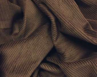 "Brown - Cotton Corduroy 8 Wale Fabric Material - 144cm (56"") wide"