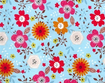"Red/Pink/Orange Flowers on Blue - Floral 100% Cotton Poplin Dress Fabric - Material - Metre/Half - 44"" (112cm) wide"