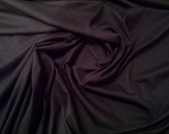 """Black - 100% Cotton Jersey Knit Fabric - T-Shirt, Stretch Material - 160cm (62"""") wide"""