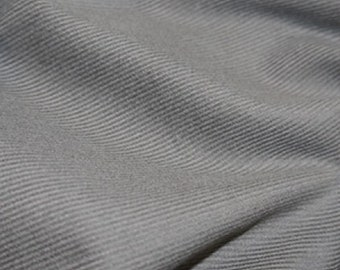 "Silver / Grey - Needlecord Cotton Corduroy 21 Wale Fabric Material - 140cm (55"") wide"