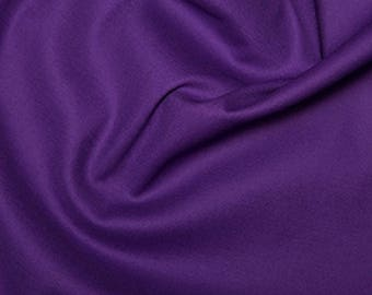 "Purple - Plain Cotton Stretch Sateen Fabric Dress Material - 146cm (57"") wide"