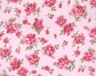 "Pink Flowers on Pink - Floral 100% Cotton Poplin Dress Fabric - Material - Metre/Half - 44"" (112cm) wide"