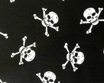 "White Skulls on Black - 100% Cotton Poplin Dress Fabric Material - Metre/Half - 44"" (112cm) wide"