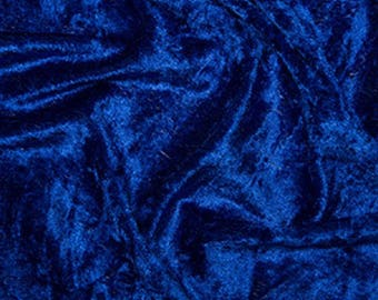 "Royal Blue Crushed Velvet Velour Stretch Fabric Material - Polyester - 150cm (59"") wide"
