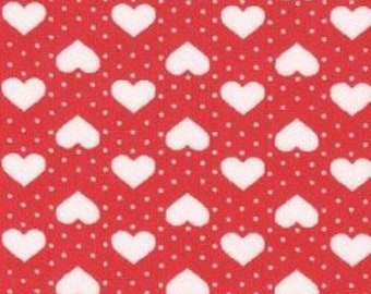 "Hearts and Spots - White on Red - 100% Cotton Poplin Dress Fabric - Material - Metre/Half - 44"" (112cm) wide"
