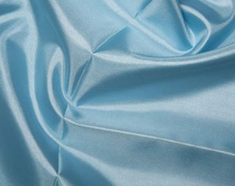 "Pale Blue Habotai 'Silk' Lining Fabric Polyester Material 145cm (57"") Wide"