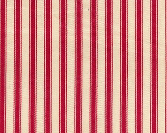 "Red on Ivory - 100% Cotton Ticking Stripes Fabric Material - 137cm (53"") wide"