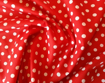 "White on Red - 100% Cotton Poplin Dress Fabric Material - 7mm Polka Dot / Spot - Metre/Half - 44"" (112cm) wide"