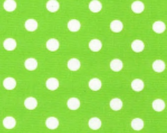 "White on Lime Green - 100% Cotton Poplin Dress Fabric Material - 7mm Polka Dot / Spot - Metre/Half - 44"" (112cm) wide"