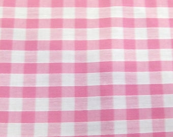 Pink - Corded Gingham - Quarter Inch Check - Dress Fabric Material - Metre/Half - 44 inches (112cm) wide